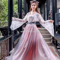 Baju Kostum Hanfu Cina Motif Bordir Untuk Wanita, Ada Ukuran Besar