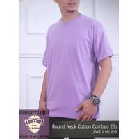 Baju Kaos Pria Polos Tshirt Oblong ONECK COTTON COMBED 20s Ungu Muda