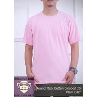 Baju Kaos Polos Pria wanita T-Shirt ONECK COTTON COMBED 20s Pink Baby