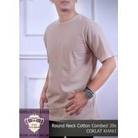 Kaos Pria Polos Shirt Baju Oblong ONECK COTTON COMBED 20s Coklat Khaki