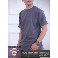 Kaos Polos Pria Premium Baju Oblong ONECK COTTON COMBED 20s Abu Gelap