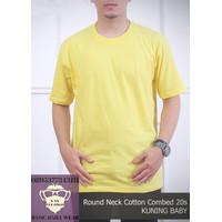 Baju Kaos Pria Polos Tshirt Oblong ONECK COTTON COMBED 20s Kuning Baby