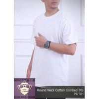 Kaos Putih Polos Wanita Pria Shirt Baju Oblong ONECK COTTON COMBED 20s
