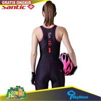 Santic Original baju set sepeda PR list pink L7C03011 Setelan Bib