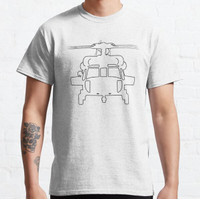 Kaos Black Hawk helicopter outline graphic (black) T-shirt 146576