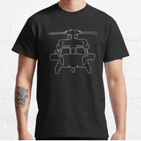 Kaos Black Hawk helicopter outline graphic (white) T-shirt 146577