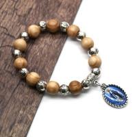 Wood Jesus Cross Beads Bangle ristian Meditation Prayer Yoga Unisex