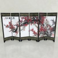 Pembatas Ruangan Model Lipat 6 Panel Bahan Kayu Untuk Dekorasi Ruma 6b