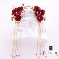 ❤HH-ID Exquisite Red Rose Flower Tiara and Tassel Earrings inese