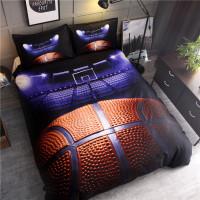 Set Sprei Sarung Bantal dan Selimut dengan Gambar Motif Bola Basket 3w