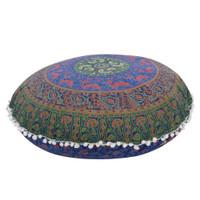 Indian Mandala Besar Lantai Bantal Bulat Bohemian Sarung Bantal 1a