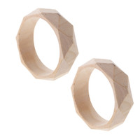 2 Pieces Natural Unfinished Faceted Wooden Bangle DIY Wood Crafts