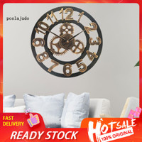 POS_40cm Gear Industrial Style Wall Clock Sticker Living Room
