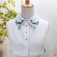 Detaable Dickey Embroidered Half Shirt Peter Pan Necklace Peterpan