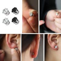 1 Pasang Anting Tusuk Magnet Bentuk Bulat dengan Berlian Warna Hitam