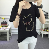 Kaos T-Shirt Wanita dengan Bahan Katun Warna Hitam dan Gambar Kucing