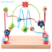 Baby Kids Wooden Math Toy Counting Bead Abacus Wire Maze Roller