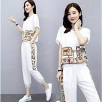 Baju Setelan Olah Raga Wanita Kaos dan Celana Jogger Clase Putih