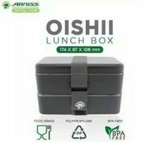 Ready Stock promo Arniss Lunch Box Kotak Makan 2 Tumpuk Hitam