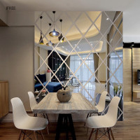 Diamond Mosaic Wall Mirror Acrylic Wall Sticker Antifouling Home