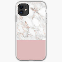 Casing HP iphone 12 11 Xs Pro Rose Gold Marble White Max 8 Plus case