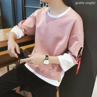 T-Shirt Lengan Pendek Musim Semi Dan Gugur Warna Pink Untuk Pria
