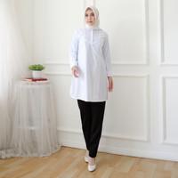 RB824 Baju putih tunik wanita muslim muslimah pakaian kerja wanita ata
