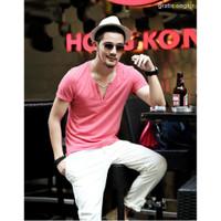 T-Shirt Pria Lengan Pendek Model V-Neck Untuk Musim Panas