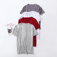 Baju Kaos V-neck model tipis bahan adem untuk pria Impor