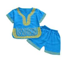 Setelan Kaos T-Shirt Lengan Pendek Celana Gaya Cina untuk Bayi