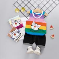 Setelan Kaos T-Shirt Korea Anak Perempuan Tanpa Lengan Gambar Kucing