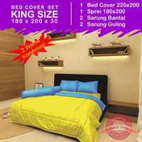Bed Cover Set Polos Emboss 2 Warna - Yellow & Royal Blue - 180x200x30