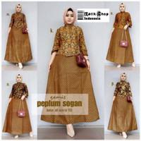STS Gamis Peplum Sogan Batik Modern Baju Kerja Kondangan Muslim Kantor