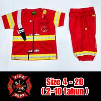 Baju Kaos Anak Profesi Setelan Pemadam Kebakaran Damkar Joger Murah