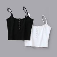 Tank Crop Top Slim Ketat Aksen Kancing Warna Polos Untuk Wanita