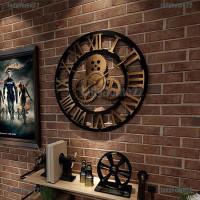 Lh Jam Dinding Desain Roda Gigi Gaya Industrial Retro Untuk Dekorasi