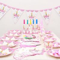 Piring Kertas Bentuk Unicorn untuk Dekorasi Pesta Ulang Tahun Anak
