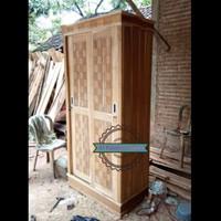 Lemari pakaian jati mentahan 2 pintu sliding ukir Jepara Murah