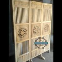 Pembatas ruangan kayu jati - Sketsel partisi ukir 3 pintu mentahan
