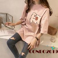 Y & L Kaos T-Shirt Lengan Pendek Motif Print Babi Lucu untuk Wanita
