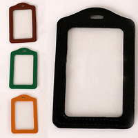 LiveCity ID Badge Card Holder Faux Leather Frame Clear Case Cover