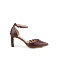 Head Over Heels Aileen Basic Ankle Strap Pointy Heels Maroon