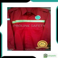 Terlaris Baju safety merah seragam proyek lapangan scotlight fosfor