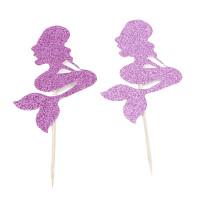 Topper Kue Desain Mermaid Glitter untuk Dekorasi Pesta Ulang Tahun /