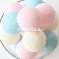 Cotton Ball Light Pastel Tone LED - Lampion Benang - Lampu Tidur -