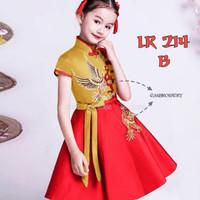 Dress Anak Perempuan Fashion Pra Remaja Imlek Burung Gold Kuning -