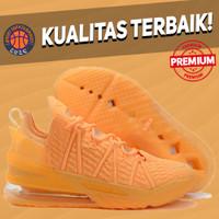 Sepatu Basket Sneakers Nike Lebron 18 Melon Tint Orange Pria Wanita