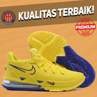 Sepatu Basket Sneakers Nike Lebron 17 Low Lakers Yellow Purple pria
