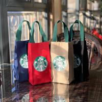 Tas Tote Bahan Kanvas Motif Starbucks Warna Hijau Untuk Cangkir Teh