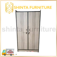 Lemari Pakaian Minimalis 2 pintu / Lemari Pakaian Buka Tutup Partikel